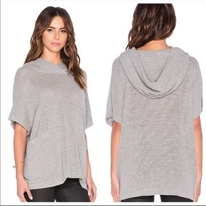 James Perse gray cotton pullover with hood